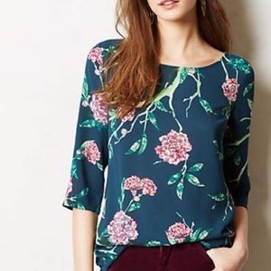 Anthropologie HD in Paris Green Blouse Size 0